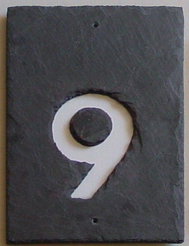 Hausnummer Naturschiefer 1-stellig negativ