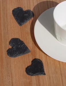 Herz aus Naturschiefer Tischdekoration