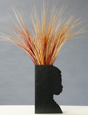 "Vase Naturschiefer Motiv ""Afrika"""