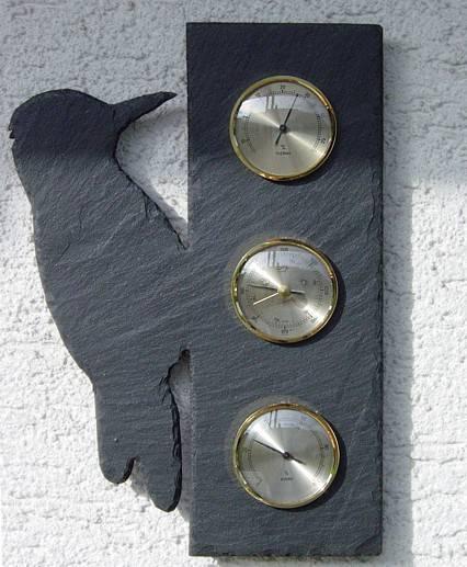 """Wetterstation Naturschiefer Motiv """"Specht"""""""
