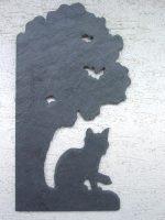 Wandbild Naturschiefer Katze unterm Baum